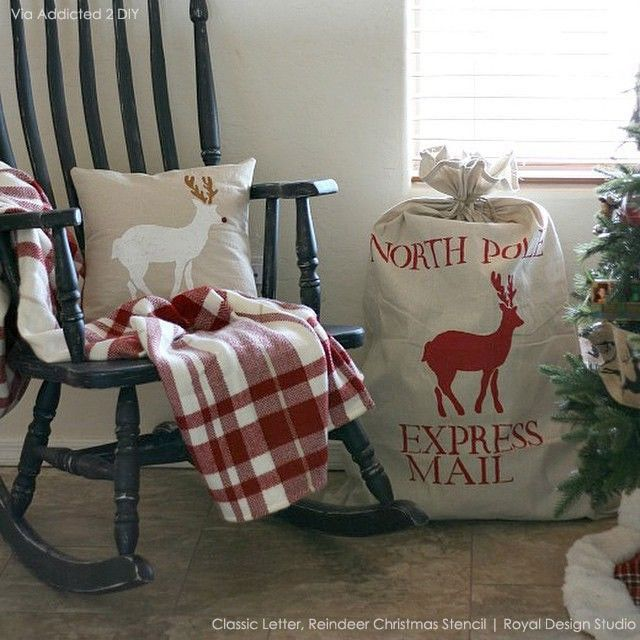 DIY Project Christmas Wreath with Stenciled Typography Letters from Royal Design Studio - via slipcoveredgrey