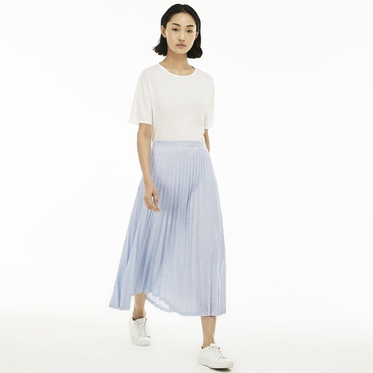 LACOSTE Women's Check Print Long Pleated Skirt - WHITE/THERMAL BLUE. #lacoste #cloth #