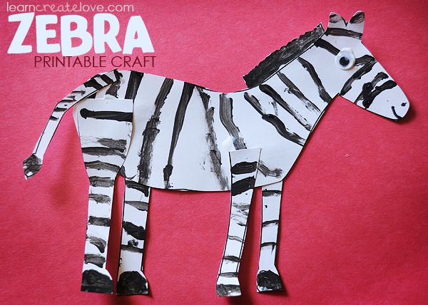 how to draw and paint a zebra for kids | Printable Zebra Craft }