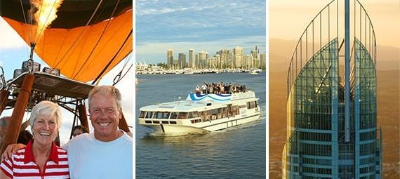 Book 3 Great activities... One Low Price!!     -30 Minute Hot Air Balloon Flight     - Delicious champagne breakfast     - 1.5 hour Sightseeing Cruise      - Morning or afternoon cruise      - See homes of the rich & famous     - Amazing views from SkyPoint