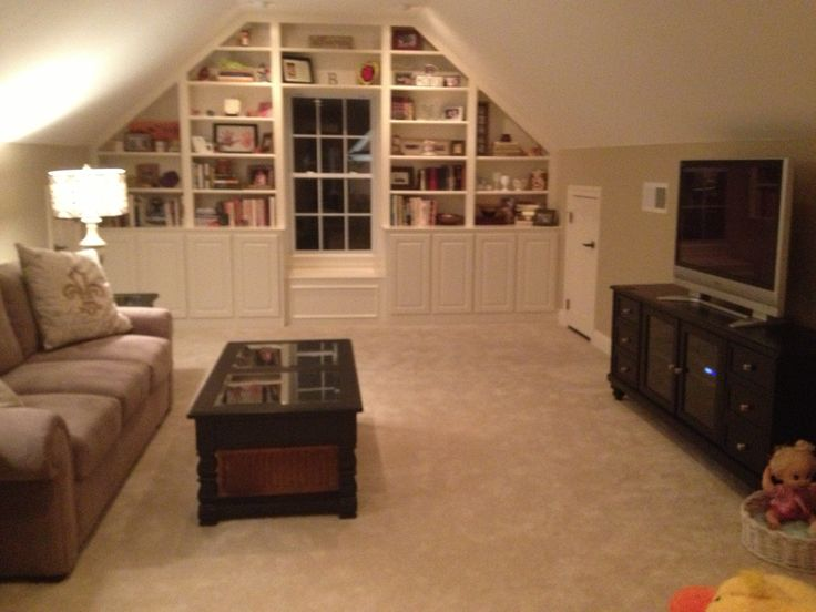For bonus room - LOVE the built-ins and little window seat!!