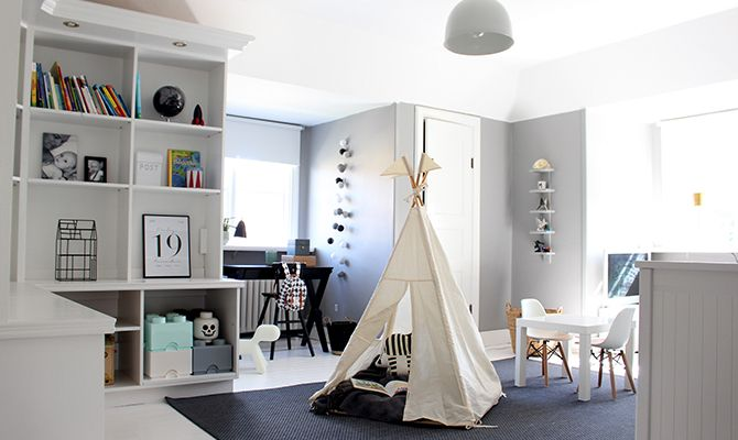 A kidsroom in greyscale. The grey color on the wall is Alcro Betong.