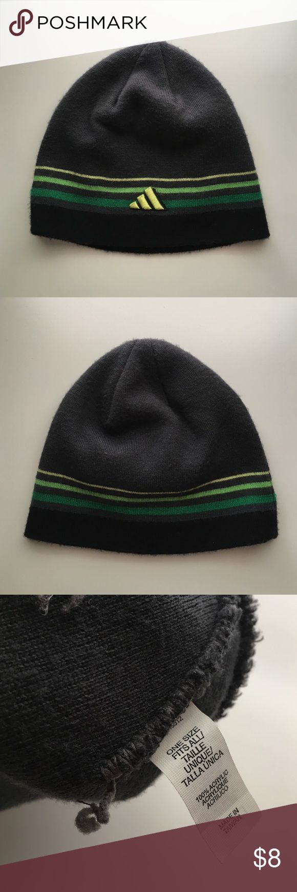 Adidas Beanie Green, black and gray beanie with logo. One size fits all. adidas Accessories Hats