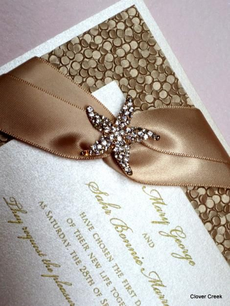 Crystal Starfish With Satin Ribbon And Pebble Border Available At  Fitzgeraldu0027s Fine Stationery. Elegant Wedding ...