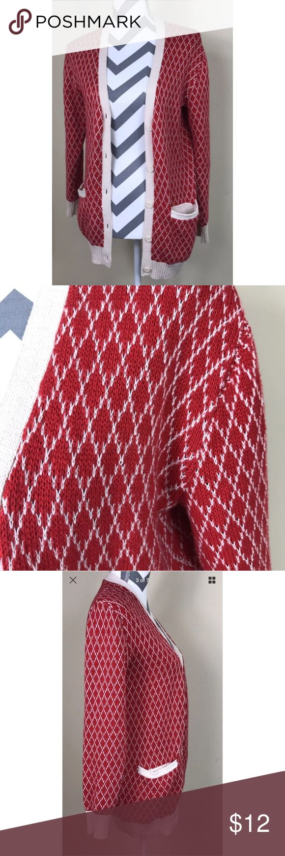 """🌷BDG UO Red White Diamond Pattern L/S Cardigan Good Pre-loved Condition -- there is a pull on the right shoulder as noted in the last picture but when on the mannequin, not noticeable BDG Urban Outfitters Women's Red White Diamond Pattern L/S Cardigan   Size: Women's XS Measured laying down flat: 29"""" long, 18"""" across bust, 23"""" long sleeves Material: 60% Cotton + 40% Acrylic Description: Button Down front, V-neckline, 2 front pockets, long sleeve, stretchy, argyle print Urban Outfitters…"""