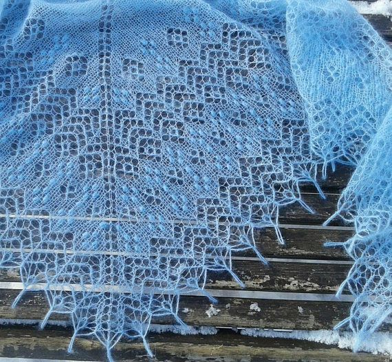 Lace Mohair Shawl in light blue color. Hand knitted warm