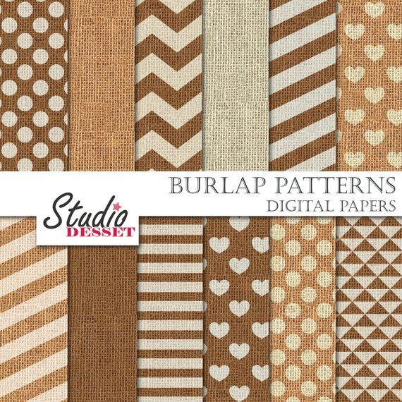 Burlap Digital Paper, Wedding Patterns, Hearts, Chevron, Stripes, Polka Dot, Romantic Backgrounds, Linen Weddings A293