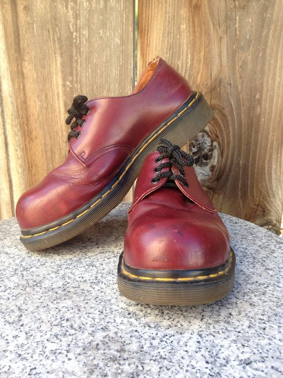 80s Rare Steel Toe Dr Martens oxblood bubble by twinflamesboutique