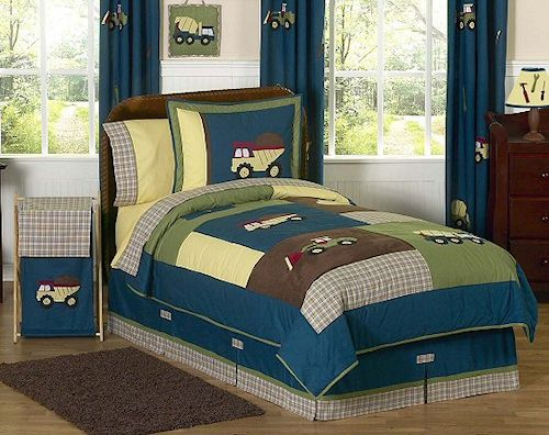 Construction Zone Kids Bedding Twin Full/Queen Comforter Sets For Boys Teal  Blue Green Brown