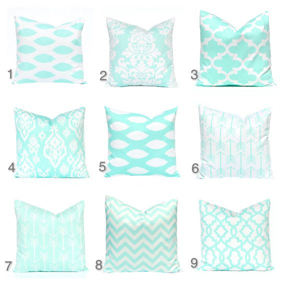 New fabric! Decorative throw pillow cover in a moroccan tiles print in a gorgeous deep pastel mint green (not aqua) and winter white. Designer