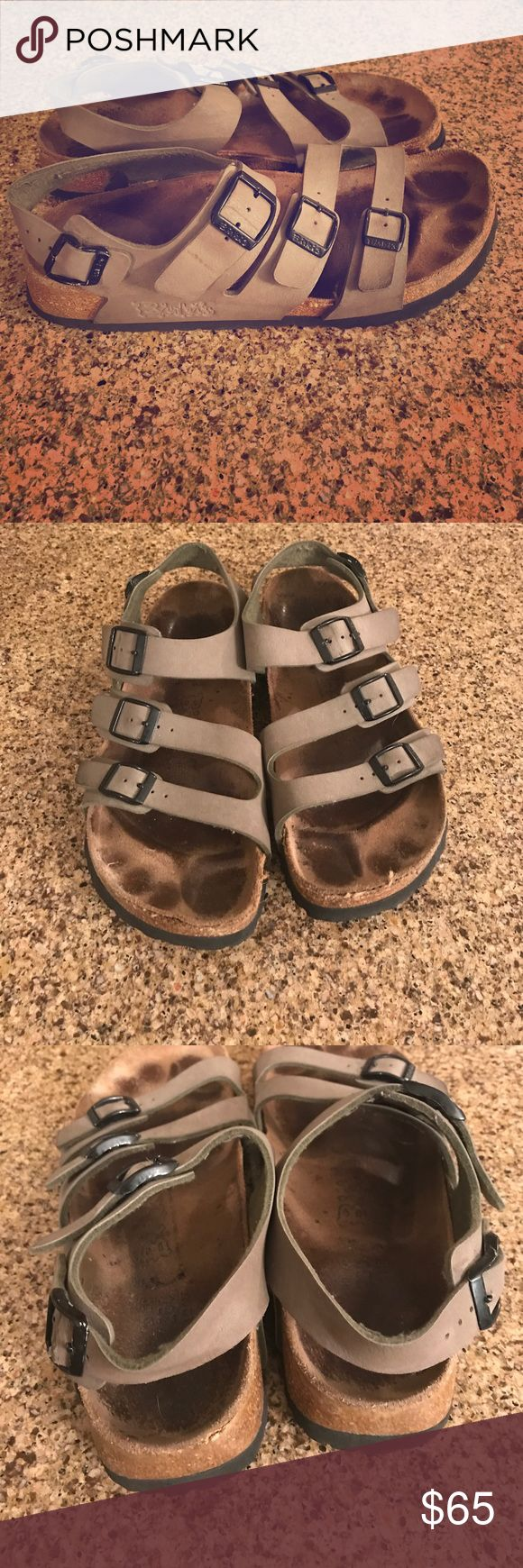 Birki's size 9 Birki's by Birkenstock sandal with heel strap. Ladies size 9 Men size 7. Good used condition. See all photos. Some slight lifting in the toe area. Birkenstock Shoes Sandals