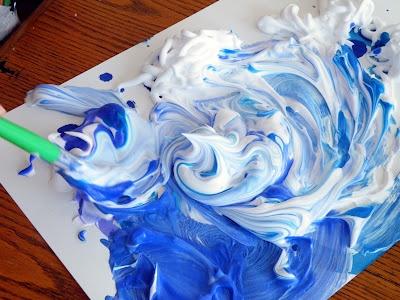 Shaving cream + watercolors