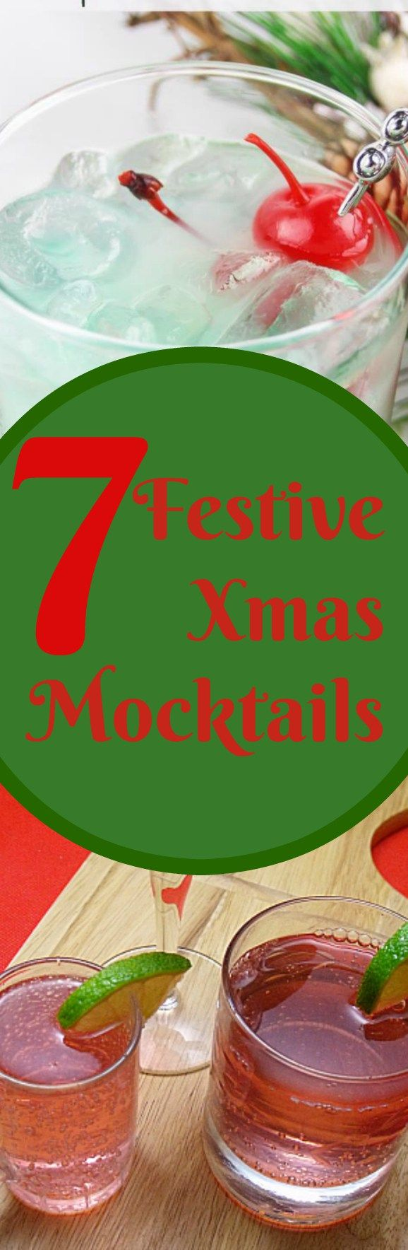 7 Delicious Christmas Mocktails.  Wonderful party drink recipes without the alcohol!