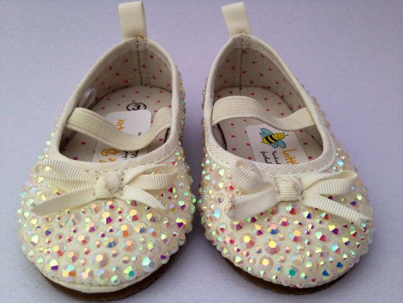 Girls Sparkle Party Shoes Ivory/ Cream by LittleBuzzyBee on Etsy