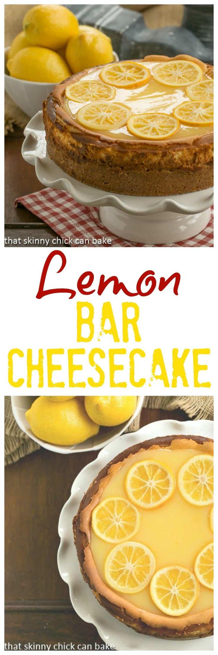 Lemon Bar Cheesecake   A luscious citrus cheesecake loaded with lemon curd #citrus #lemondessertski