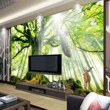 Woods Tree Bosque Foto wallpaper Personalizado 3D Fondos de Escritorio de Arte Mural de la Pared decoración de la Habitación Dormitorio paisaje Natural Pavo Real Casa Sika ciervos