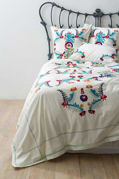 Amora Bedding #anthropologie  #flowershop  I love this it reminds me of summer -vibrant colors with fresh and soft white