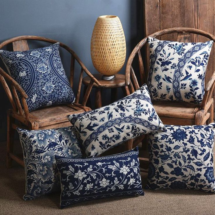 Blue  porcelain Pattern China Flower Decorative Pillow  /Linen cotton sofa cushion /Car throw pillows-in Cushion from Home & Garden on Aliexpress.com   Alibaba Group