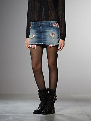 Buy Jeans stretch mini Skirt, ripped, with internal zip pockets, with contrasting colour lining, longer at the front