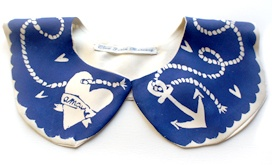 Cleo Ferin MercuryAnchors Silk, Cotton Collars, Blue, Accessoti Nautical, Peter Pan Collars, Anchors Cotton, Heart Anchors Cleo, Anchors Heart, Anchors Cleo Ferin