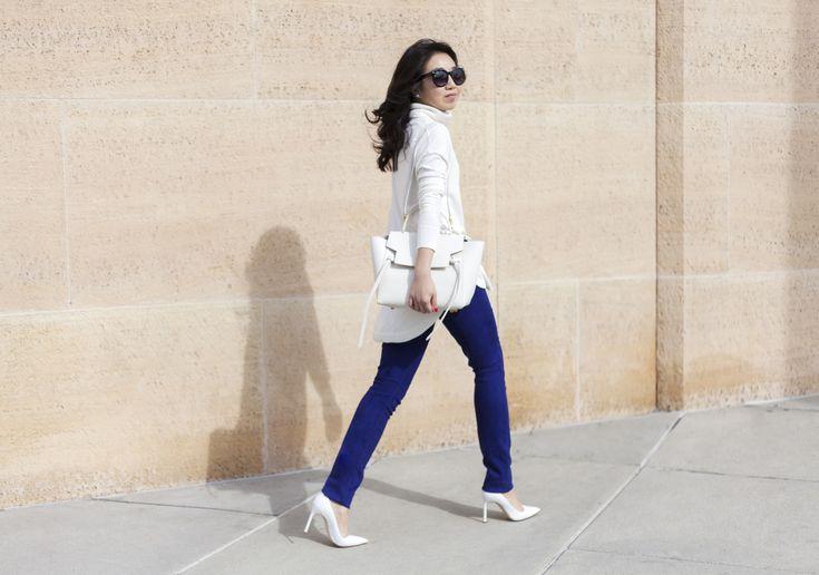 Cobalt blue J Brand jeans, white turtleneck, Manolo Blahnik BB heels, Celine belt bag