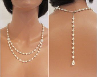Back Drop Necklace Pearl Back Drop Sterling by GlamorousBijoux