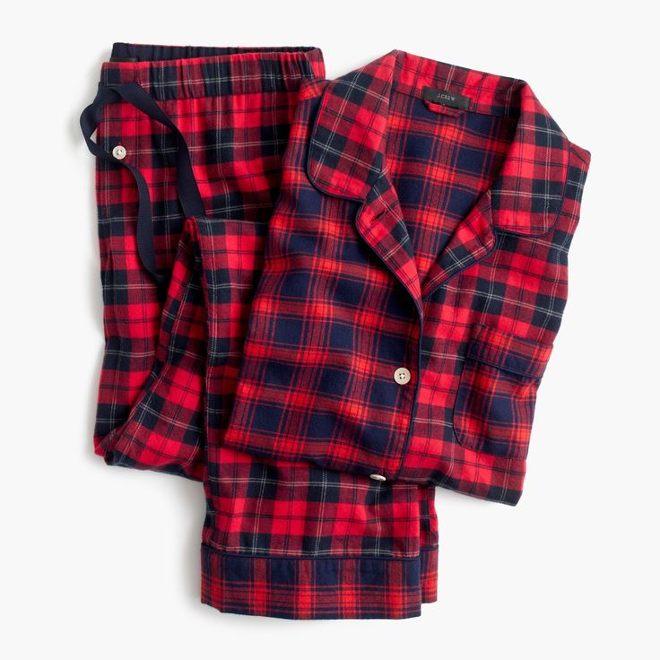 J.Crew Gift Guide: women's mixed plaid flannel pajama set.