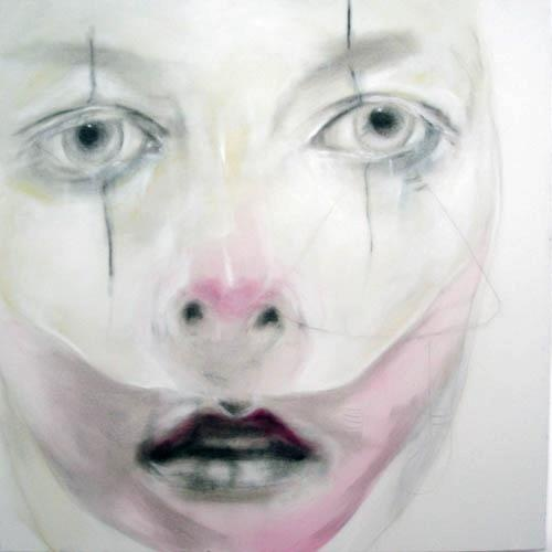 """Angelo Bellobono """"Circo Nudo #2"""" Viola 2  2005 cm. 100 x 100 acrilico e pastello su tela"""