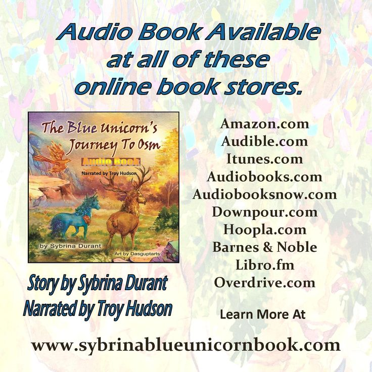 Do you love audio books? The Blue Unicorn's Journey To Osm narrated by Troy W. Hudson is available at all of these online bookstores. Click the picture to get the links.  #audiobooklover #unicornfan #unicornbook #booklover