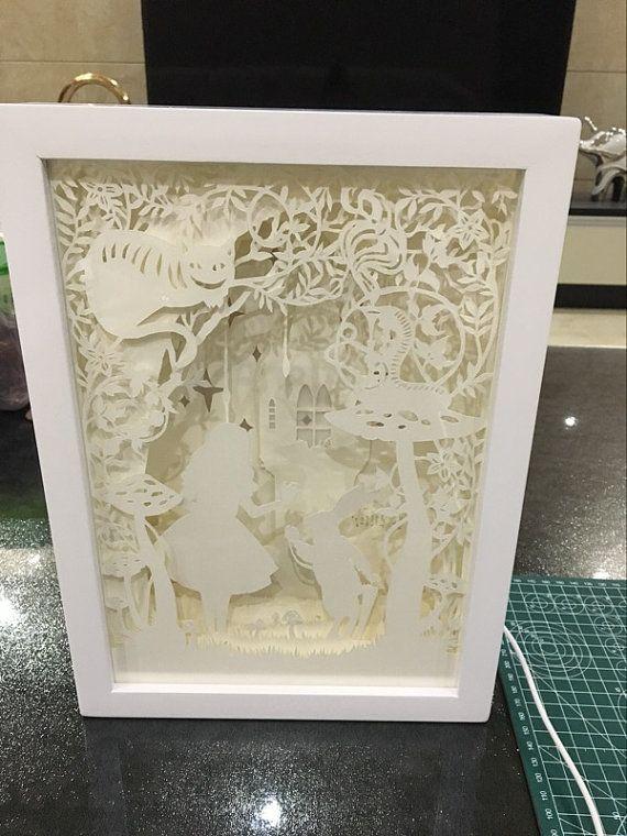 Lightbox papier au pays des merveilles Alice coupé boîte à lumière veilleuse lampe Accent mariage anniversaire