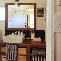 aoao723さんの、バス/トイレ,IKEA,洗面所,ニッチ,サリュ,新築,マイホーム,アメリカンスイッチ,造作洗面台,造作ドア,タイルの洗面所,無地良品,のお部屋写真