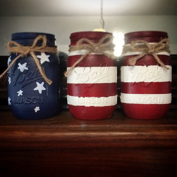 Red, White, and Blue Chalk Painted Mason Jars on Etsy, $15.00