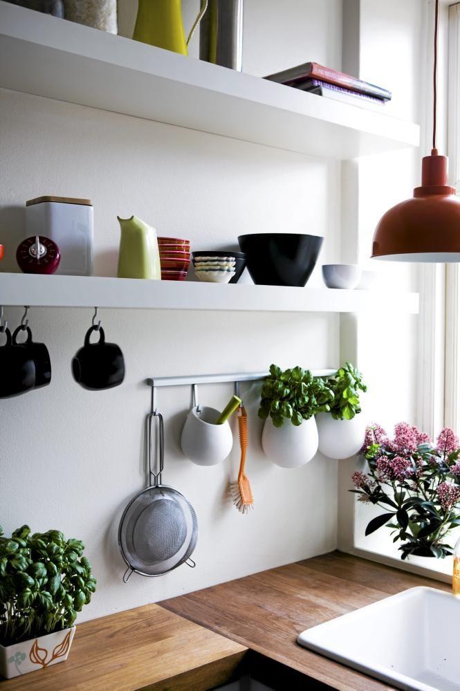 .: Plants Hangers, Kitchens Shelves, Open Shelves, Floating Shelves, Kitchens Design, Hanging Plants, Kitchens Details, Modern Kitchens, Design Home