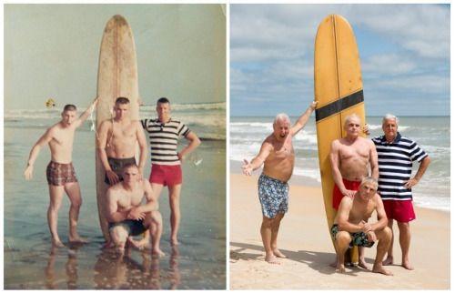 Veteranos de la guerra de Vietnam se juntan para recrear una foto de cuando acabaron su servicio.