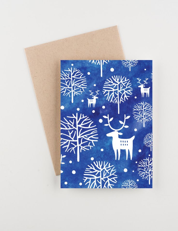 Winter Forest, Holiday 2015 Christmas and New Years Greetings Card, Watercolor by seahorsebendpress on Etsy