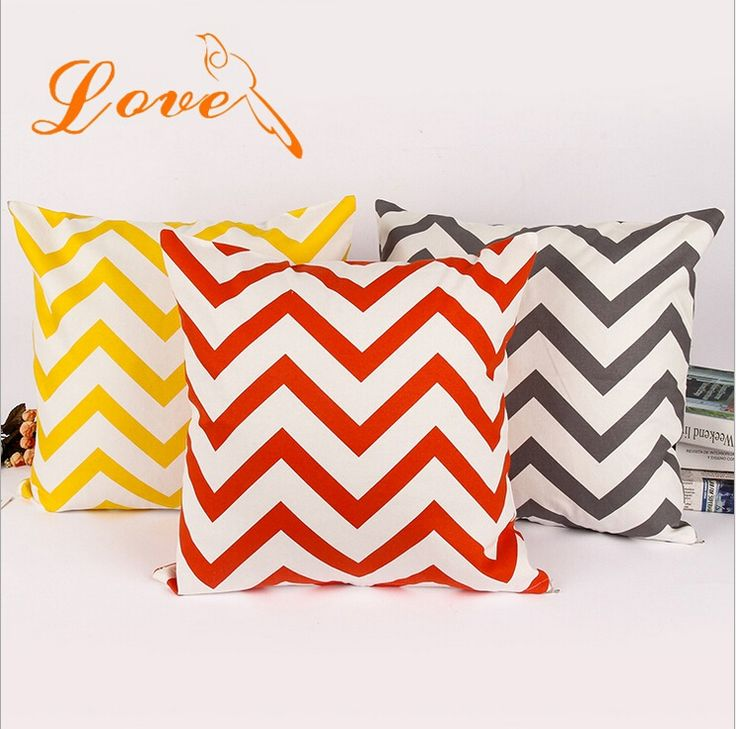 Chevron Striped Pattern Yellow Gray Orange Turquoise Cotton Throw Pillow Case Cushion Cover Sofa Chair Car Home Decorative 45cm