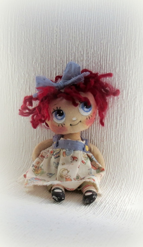 Lil Raggedy Ann cloth doll by suziehayward on Etsy, $59.95 SOLD