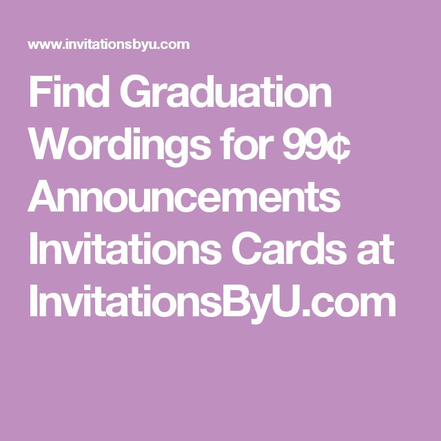 Find Graduation Wordings for 99¢ Announcements Invitations Cards at InvitationsByU.com