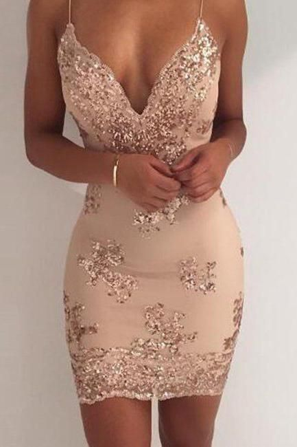 Awesome OKDRESSES offers Cheap Sexy Sequin Sheath Spaghetti Straps Homecoming Dress,Cock…