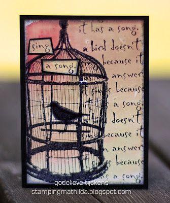 StampingMathilda: Darkroom Door ATC using Love Birds Rubber Stamps.