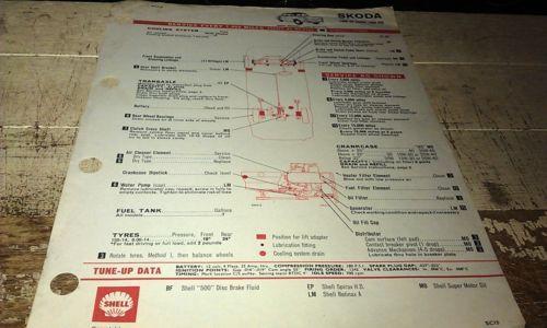 1966-1967-1968-SKODA-SABRE-1000-MB-SHELL-Australia-Lube-Chart