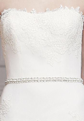 modeca olva - Google Search #modeca #weddingdress with beaded belt and #lace.  Available at the #Bridal #Gown Otley