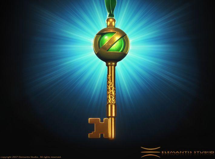 Return to OZ, OZ Portal Key Pendant/ Keychain 3d printed Raw Brass assembled example (Marble and ribbon not included) #ReturnToOz, #WizardOfOz