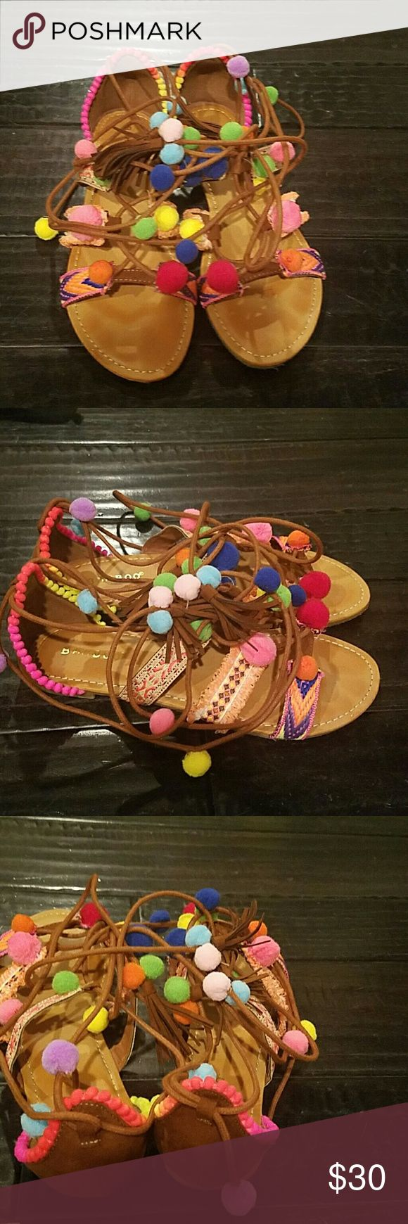 Pom pom gladiator shoes like new worn once 7 Used once fabric pom pom gladiator sandals perfect for summer bamboo  Shoes Sandals