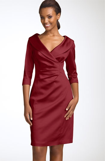 Nice fall Mother of Bride Dress  Kay Unger Stretch Satin Sheath Dress available at #Nordstrom
