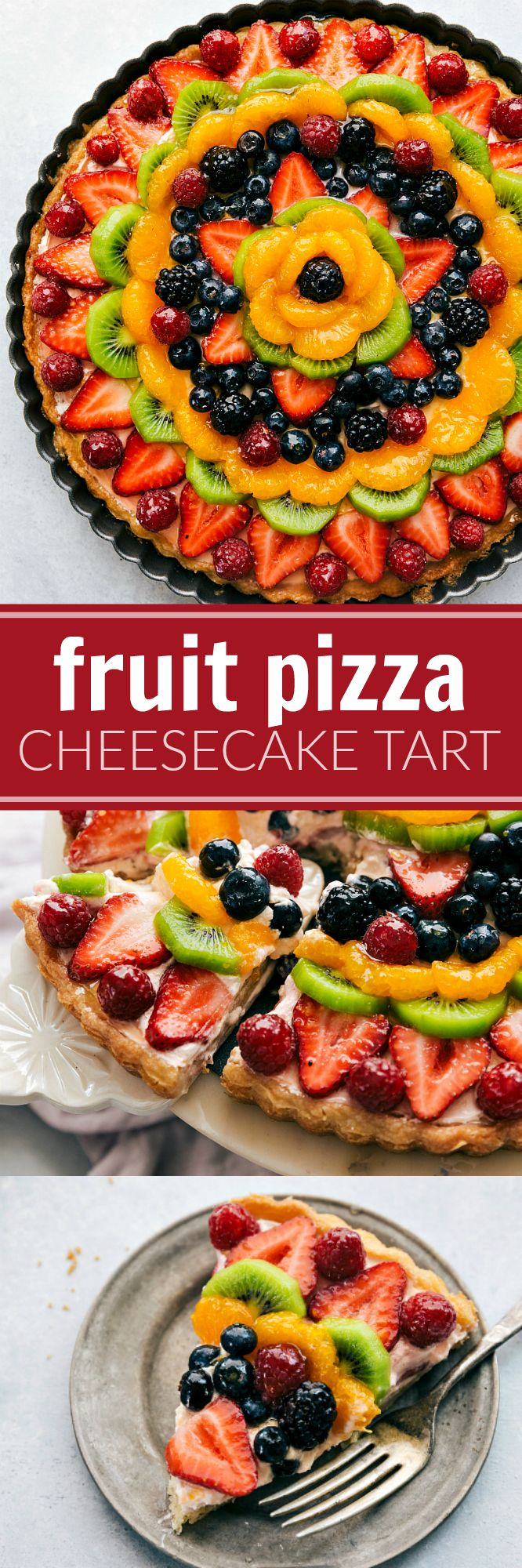 A twist on the famous FRUIT PIZZAS -- this one made in a tart pan with a sugar cookie crust and a delicious + light no-bake cheesecake filling.