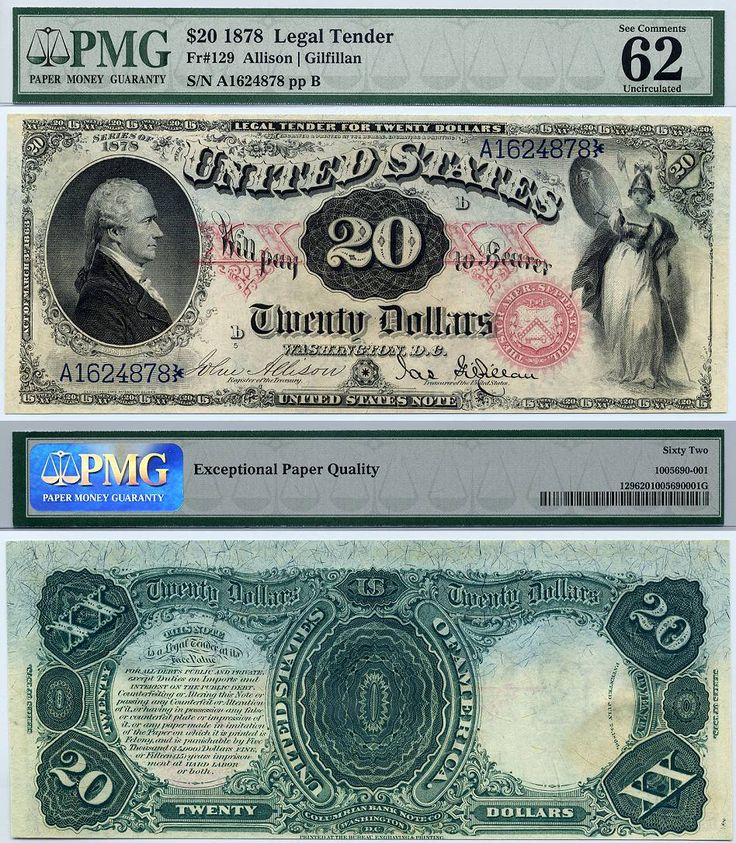 1878 $20 United States Note Legal Tender FR-129 PMG Graded CU62