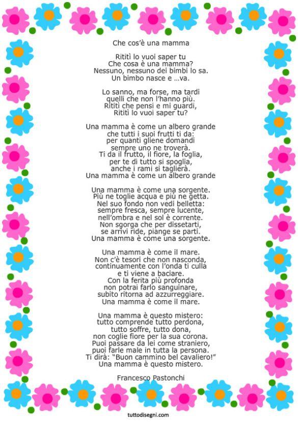 Poesia per la Festa della Mamma con cornice
