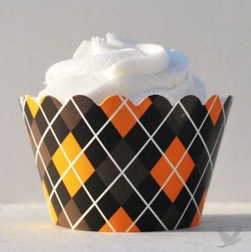 Halloween Argyle Reversible Cupcake Wrappers eclectic kitchen products
