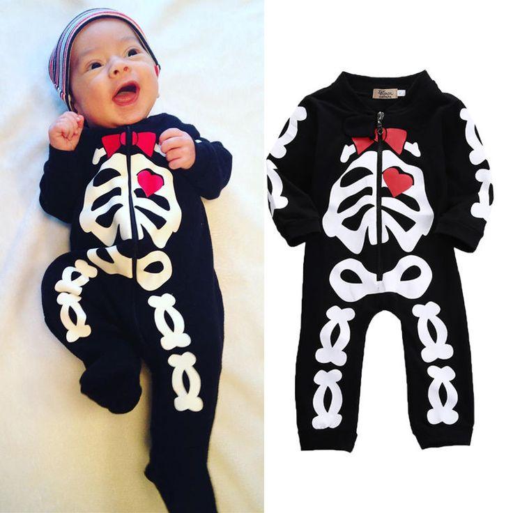 Baby Long Sleeve Heart Skull jumpsuit //Price: $13.69 & FREE Shipping //     #skull #skullinspiration #skullobsession #skulls